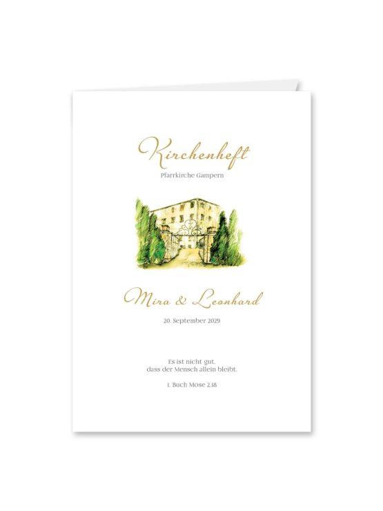 kirchenheft klappkarte hochzeit vintage watercolor toskana villa tuscany gold aquarell acryl hochzeitsgrafik onlineshop papeterie