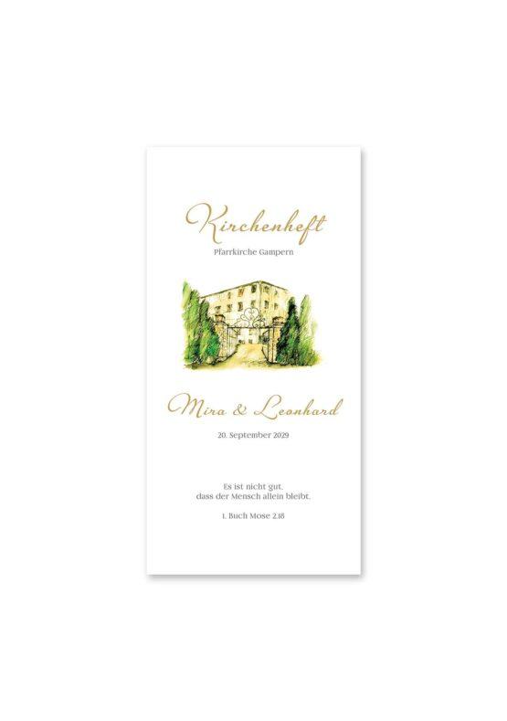 kirchenheft hochzeit vintage watercolor toskana villa tuscany gold aquarell acryl hochzeitsgrafik onlineshop papeterie