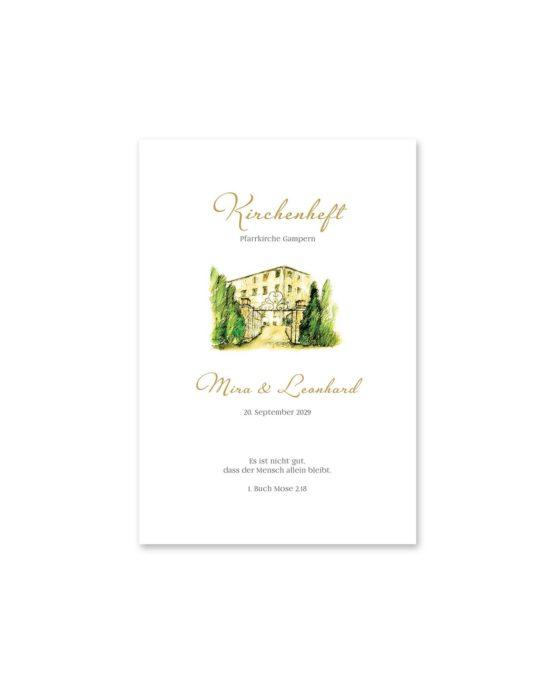 kirchenheft fächer hochzeit vintage watercolor toskana villa tuscany gold aquarell acryl hochzeitsgrafik onlineshop papeterie