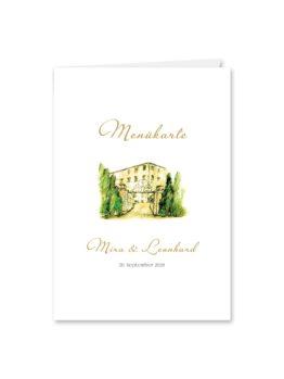 menükarte klappkarte hochzeit vintage watercolor toskana villa tuscany gold aquarell acryl hochzeitsgrafik onlineshop papeterie