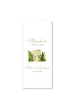 menükarte dreieck hochzeit vintage watercolor toskana villa tuscany gold aquarell acryl hochzeitsgrafik onlineshop papeterie