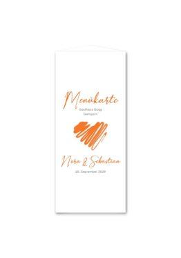 menükarte dreieck hochzeit vintage herz liebe orange hochzeitsgrafik onlineshop papeterie