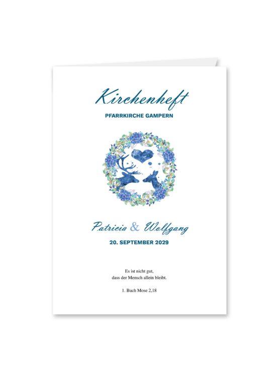 kirchenheft klappkarte hochzeit vintage blumenkranz tracht hirsch herz blumen watercolor aquarell acryl hochzeitsgrafik onlineshop papeterie