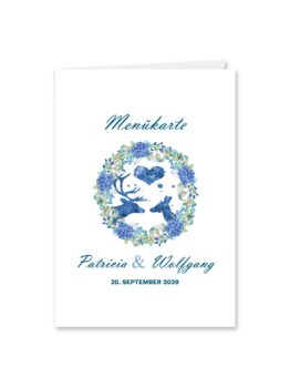 menükarte klappkarte hochzeit vintage blumenkranz tracht hirsch herz blumen watercolor aquarell acryl hochzeitsgrafik onlineshop papeterie