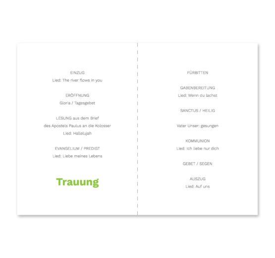 kirchenheft klappkarte hochzeit elegant herz ornament grün stilvoll hochzeitsgrafik onlineshop papeterie