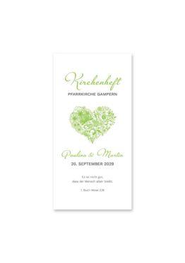 kirchenheft hochzeit elegant herz ornament grün stilvoll hochzeitsgrafik onlineshop papeterie