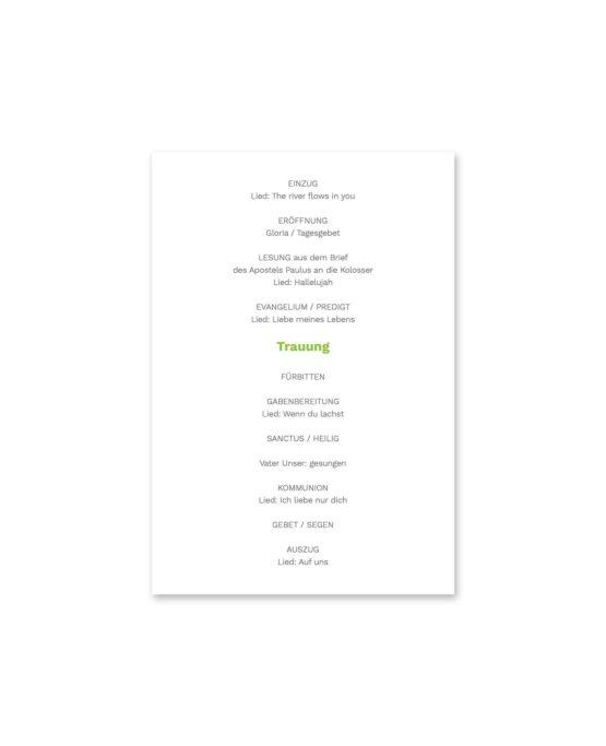 kirchenheft fächer hochzeit elegant herz ornament grün stilvoll hochzeitsgrafik onlineshop papeterie