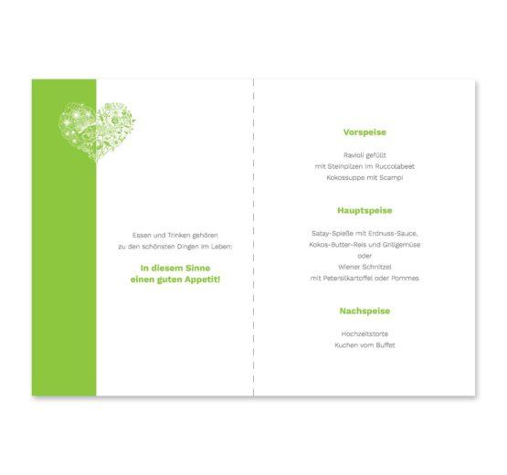 menükarte klappkarte hochzeit elegant herz ornament grün stilvoll hochzeitsgrafik onlineshop papeterie