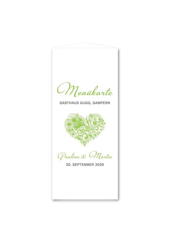 menükarte dreieck hochzeit elegant herz ornament grün stilvoll hochzeitsgrafik onlineshop papeterie