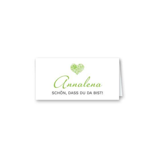 tischkarte klappkarte dreieck hochzeit elegant herz ornament grün stilvoll hochzeitsgrafik onlineshop papeterie