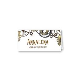 tischkarte klappkarte hochzeit elegant steam punk zahnräder taschenuhr braun industrie industriell hochzeitsgrafik onlineshop papeterie