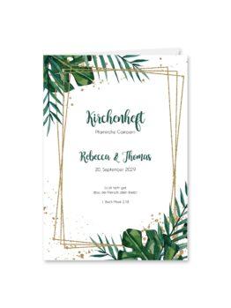 kirchenheft klappkarte hochzeit aloha hawaii palmen monstera glitzer gold watercolor aquarell acryl rahmen geometrie hochzeitsgrafik onlineshop papeterie
