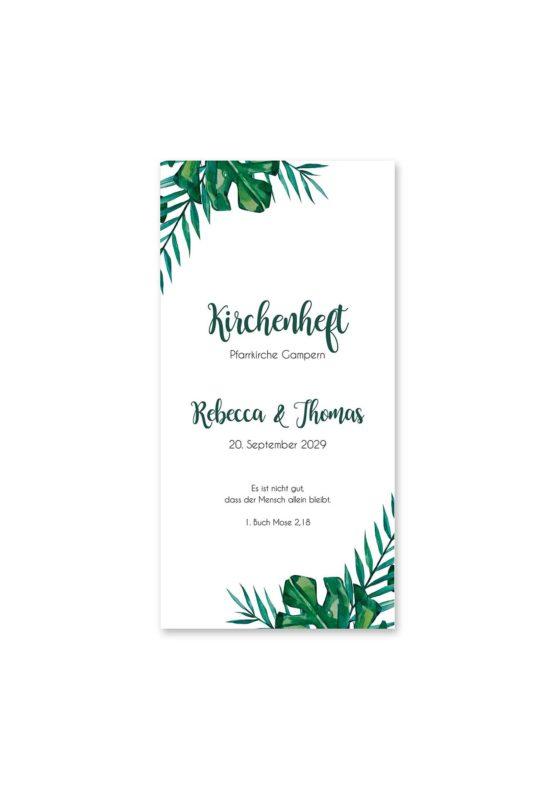 kirchenheft hochzeit aloha hawaii palmen monstera glitzer gold watercolor aquarell acryl rahmen geometrie hochzeitsgrafik onlineshop papeterie