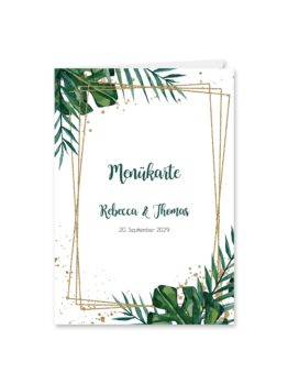 menükarte klappkarte hochzeit aloha hawaii palmen monstera glitzer gold watercolor aquarell acryl rahmen geometrie hochzeitsgrafik onlineshop papeterie