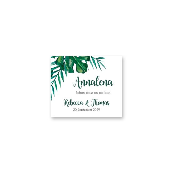 tischkarte aloha hawaii palmen monstera glitzer gold watercolor aquarell acryl rahmen geometrie hochzeitsgrafik onlineshop papeterie