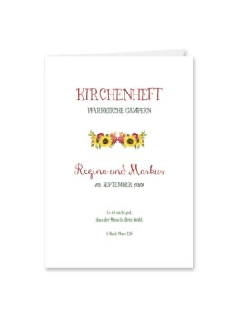 kirchenheft klappkarte hochzeit vintage watercolor sonnenblume rot gelb aquarell acryl hochzeitsgrafik onlineshop papeterie