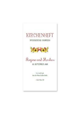 kirchenheft hochzeit vintage watercolor sonnenblume rot gelb aquarell acryl hochzeitsgrafik onlineshop papeterie