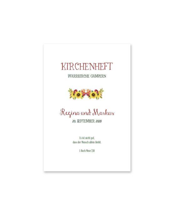 kirchenheft fächer hochzeit vintage watercolor sonnenblume rot gelb aquarell acryl hochzeitsgrafik onlineshop papeterie