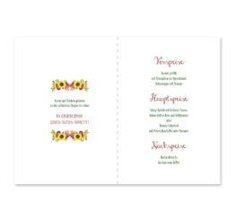 menükarte klappkarte hochzeit vintage watercolor sonnenblume rot gelb aquarell acryl hochzeitsgrafik onlineshop papeterie
