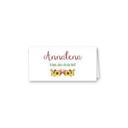 tischkarte klappkarte hochzeit vintage watercolor sonnenblume rot gelb aquarell acryl hochzeitsgrafik onlineshop papeterie