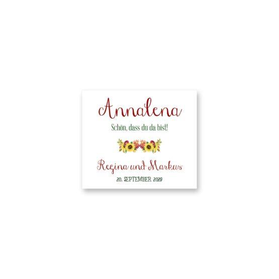 tischkarte hochzeit vintage watercolor sonnenblume rot gelb aquarell acryl hochzeitsgrafik onlineshop papeterie