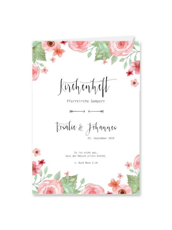kirchenheft klappkarte hochzeit vintage aquarell acyrl watercolor blumen grün rosa hochzeitsgrafik onlineshop papeterie