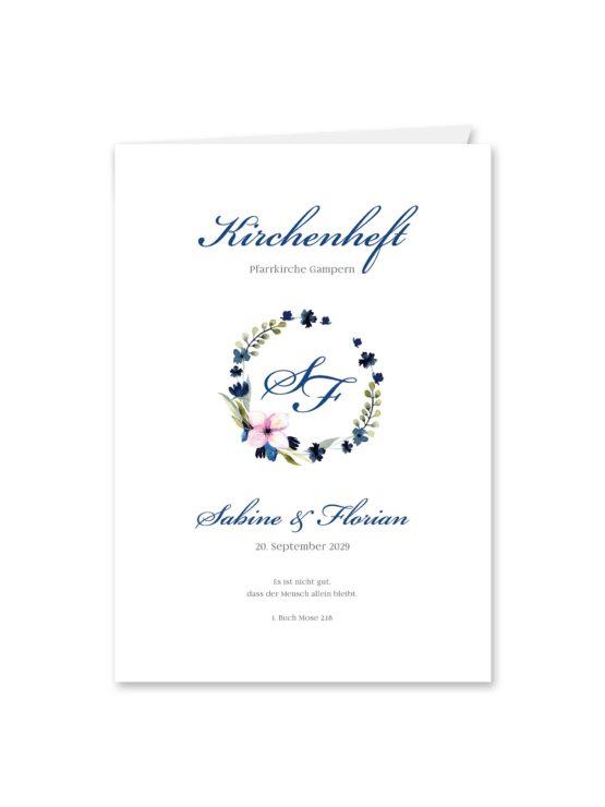 kirchenheft klappkarte hochzeit vintage aquarell acyrl watercolor blumen kranz blau rosa hochzeitsgrafik onlineshop papeterie