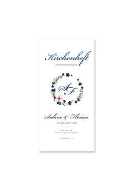 kirchenheft hochzeit vintage aquarell acyrl watercolor blumen kranz blau rosa hochzeitsgrafik onlineshop papeterie