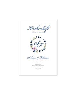 kirchenheft fächer hochzeit vintage aquarell acyrl watercolor blumen kranz blau rosa hochzeitsgrafik onlineshop papeterie