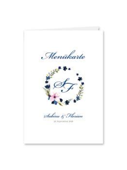 menükarte klappkarte hochzeit vintage aquarell acyrl watercolor blumen kranz blau rosa hochzeitsgrafik onlineshop papeterie