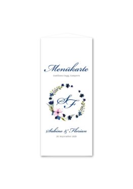 menükarte dreieck hochzeit vintage aquarell acyrl watercolor blumen kranz blau rosa hochzeitsgrafik onlineshop papeterie