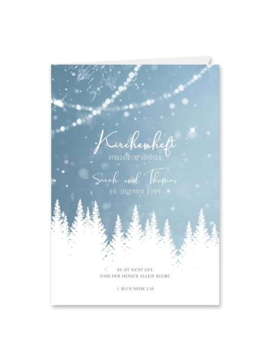 kirchenheft klappkarte hochzeit vintage winter landschaft bäume baum schnee eisblau lichterketten hochzeitsgrafik onlineshop papeterie
