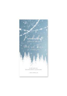 kirchenheft hochzeit vintage winter landschaft bäume baum schnee eisblau lichterketten hochzeitsgrafik onlineshop papeterie