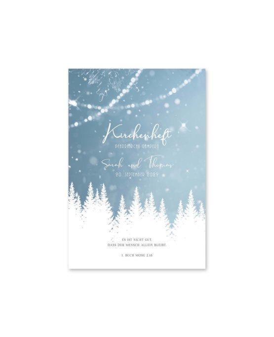 kirchenheft fächer hochzeit vintage winter landschaft bäume baum schnee eisblau lichterketten hochzeitsgrafik onlineshop papeterie