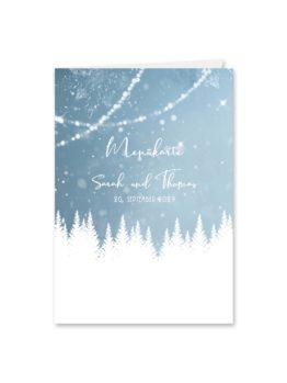 menükarte klappkarte hochzeit vintage winter landschaft bäume baum schnee eisblau lichterketten hochzeitsgrafik onlineshop papeterie