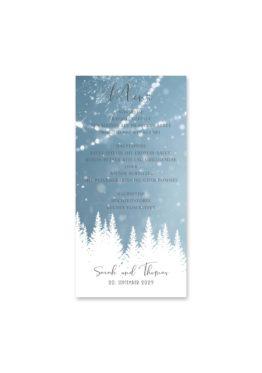 menükarte hochzeit vintage winter landschaft bäume baum schnee eisblau lichterketten hochzeitsgrafik onlineshop papeterie