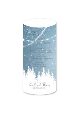 menükarte windlicht hochzeit vintage winter landschaft bäume baum schnee eisblau lichterketten hochzeitsgrafik onlineshop papeterie