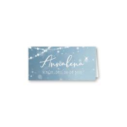 tischkarte klappkarte hochzeit vintage winter landschaft bäume baum schnee eisblau lichterketten hochzeitsgrafik onlineshop papeterie
