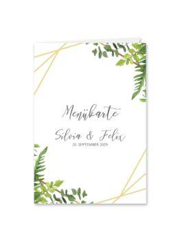 menükarte klappkarte hochzeit vintage watercolor aquarell acryl greenery malerei geometrie rahmen gold hochzeitsgrafik onlineshop papeterie