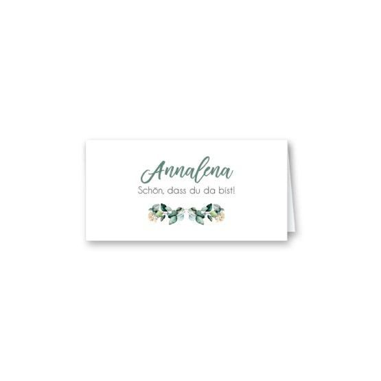 tischkarte klappkarte hochzeit vintage watercolor aquarell acryl blumenkranz eucalyptus lachs monogramm logo hochzeitsgrafik onlineshop papeterie