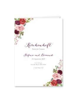 kirchenheft klappkarte hochzeit vintage watercolor aquarell acryl blumen eucalyptus rosen rosa aubergine rot weinrot hochzeitsgrafik onlineshop papeterie