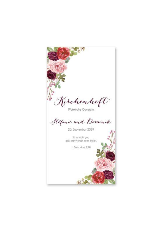 kirchenheft hochzeit vintage watercolor aquarell acryl blumen eucalyptus rosen rosa aubergine rot weinrot hochzeitsgrafik onlineshop papeterie