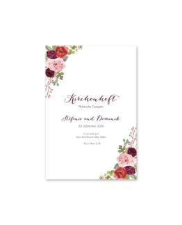 kirchenheft fächer hochzeit vintage watercolor aquarell acryl blumen eucalyptus rosen rosa aubergine rot weinrot hochzeitsgrafik onlineshop papeterie