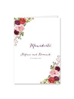 menükarte klappkarte hochzeit vintage watercolor aquarell acryl blumen eucalyptus rosen rosa aubergine rot weinrot hochzeitsgrafik onlineshop papeterie