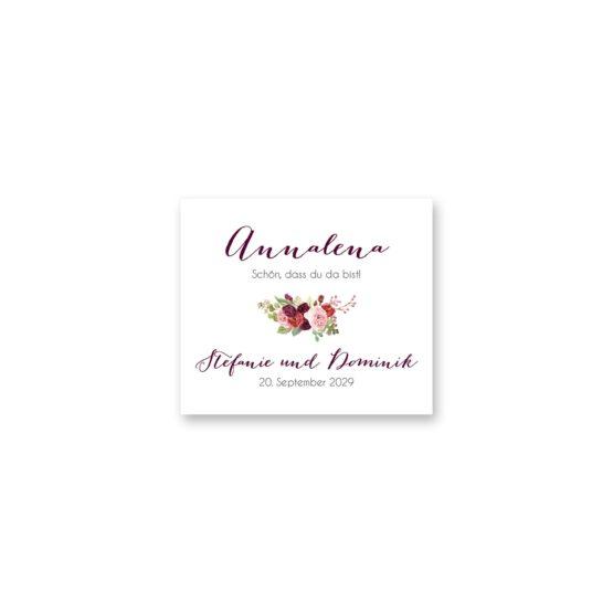 tischkarte hochzeit vintage watercolor aquarell acryl blumen eucalyptus rosen rosa aubergine rot weinrot hochzeitsgrafik onlineshop papeterie
