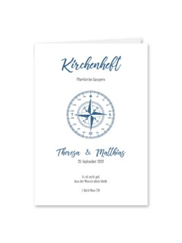 kirchenheft klappkarte hochzeit vintage kompass reise reisen welt ziel nord süd ost west blau hochzeitsgrafik onlineshop papeterie