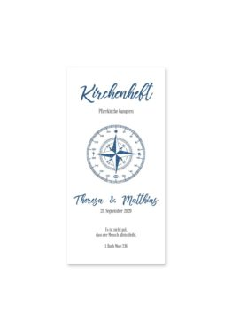 kirchenheft hochzeit vintage kompass reise reisen welt ziel nord süd ost west blau hochzeitsgrafik onlineshop papeterie
