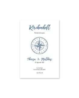 kirchenheft fächer hochzeit vintage kompass reise reisen welt ziel nord süd ost west blau hochzeitsgrafik onlineshop papeterie