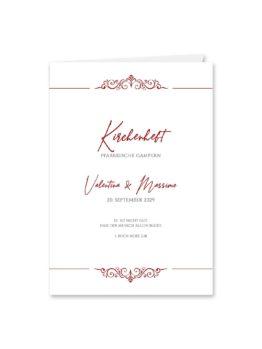 kirchenheft hochzeit klappkarte elegant ornament rot ringe gold eheringe königlich kaiser hochzeitsgrafik onlineshop papeterie