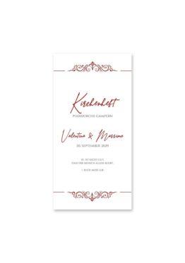 kirchenheft hochzeit elegant ornament rot ringe gold eheringe königlich kaiser hochzeitsgrafik onlineshop papeterie